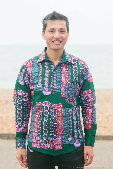 Green and Maroon Patterned African Style Shirt